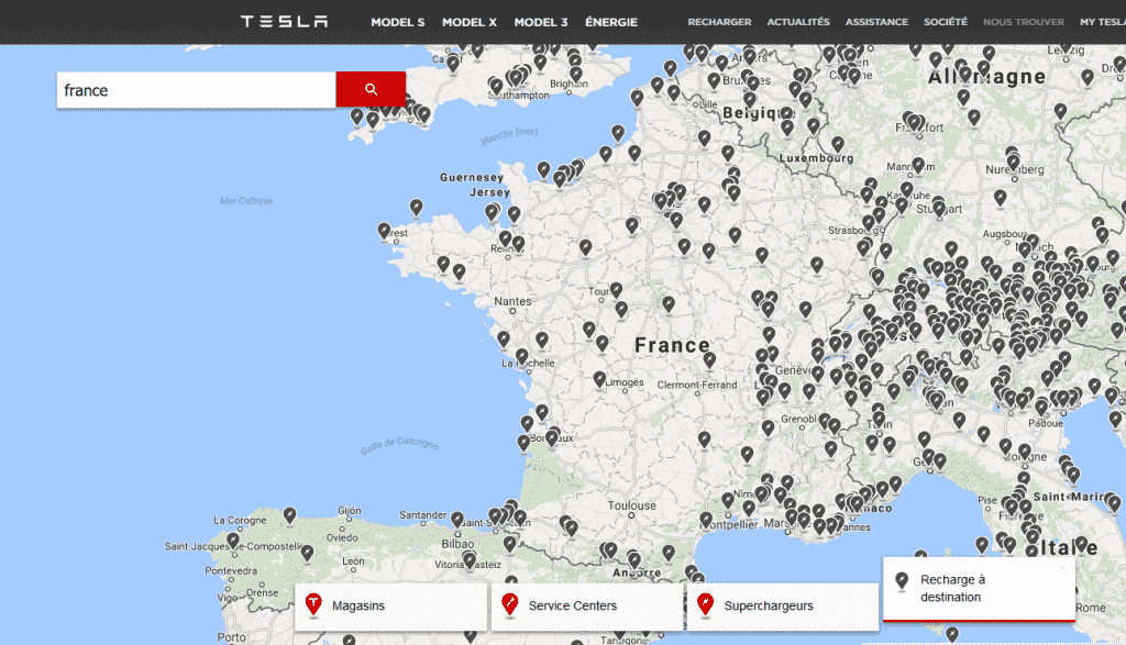 carte des points de recharge tesla en france