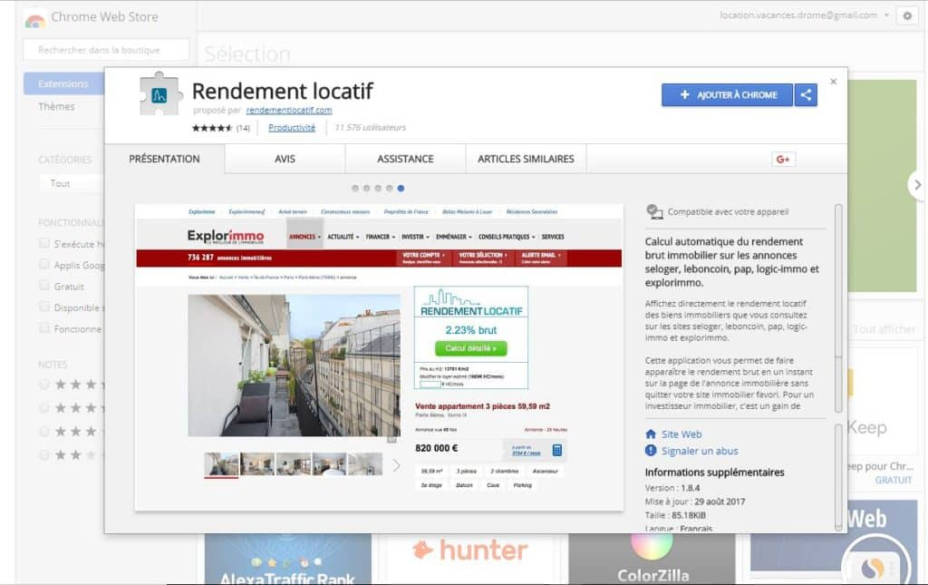 Application chrome rendement locatif
