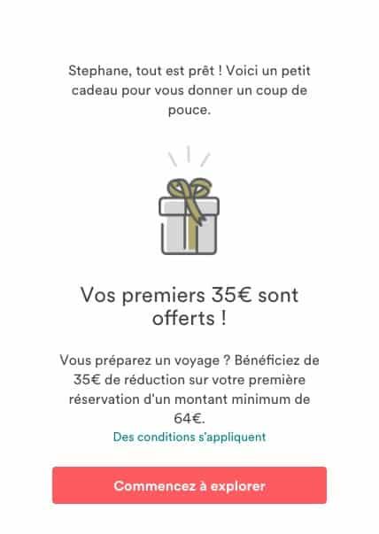 Exemple de coupon / lien de parrainage sur Airbnb