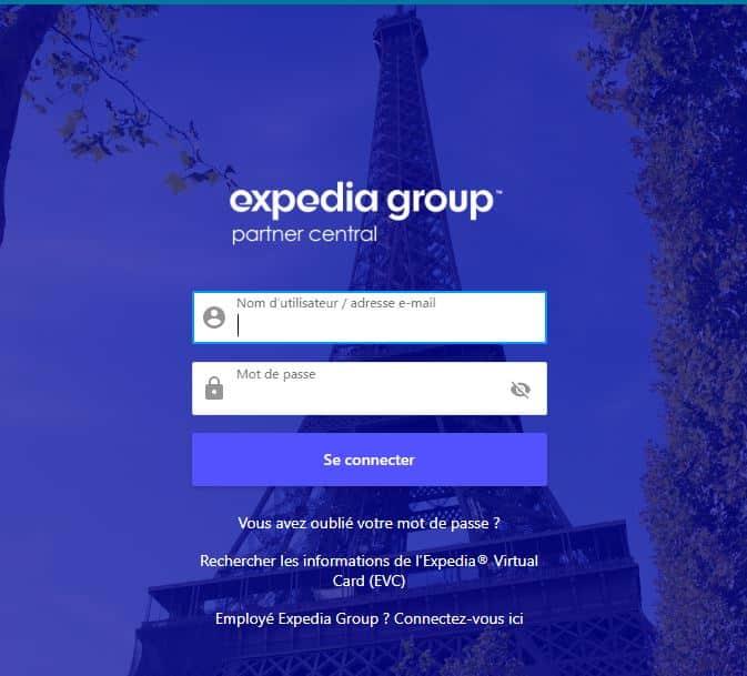 Interface visuelle de l'extranet Expedia : expedia group partner central pour les intimes...