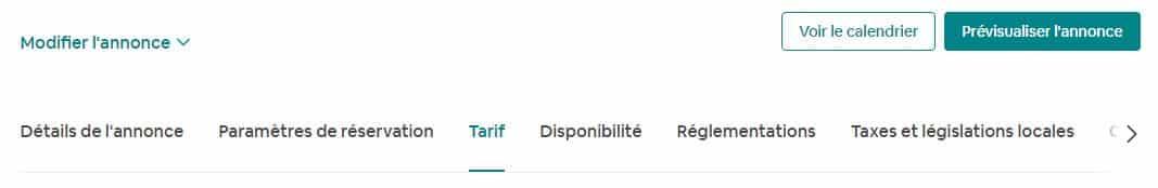 Etape 1 : Allez dans mon compte airbnb / Les Annonces / Tarifs (en haut)
