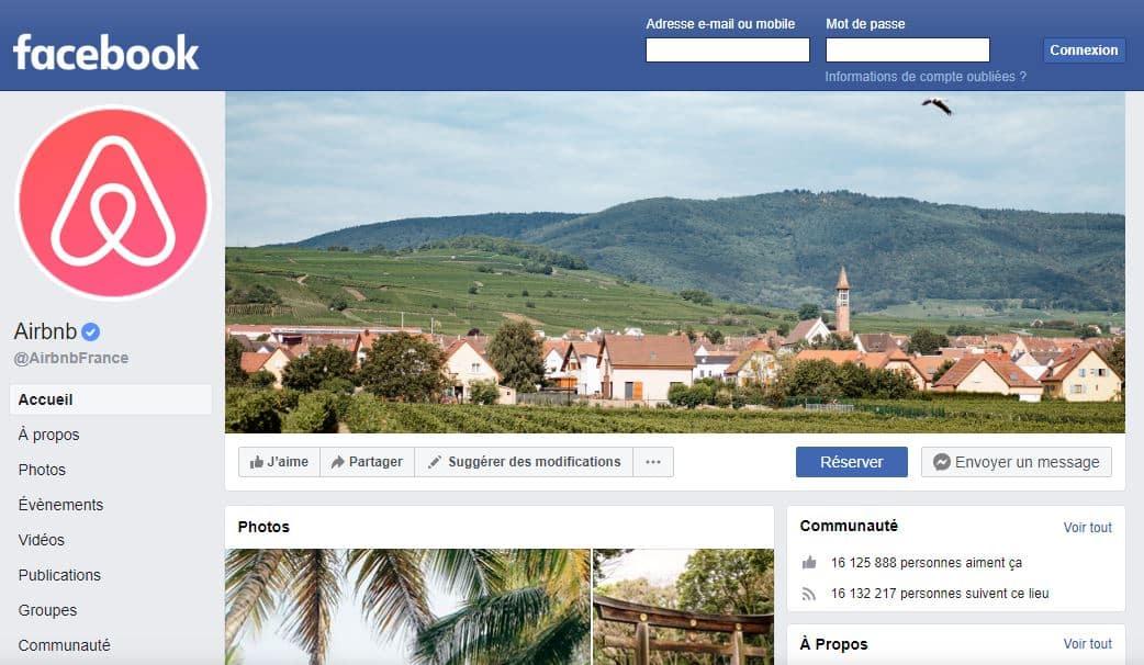 Compte Facebook de Airbnb France