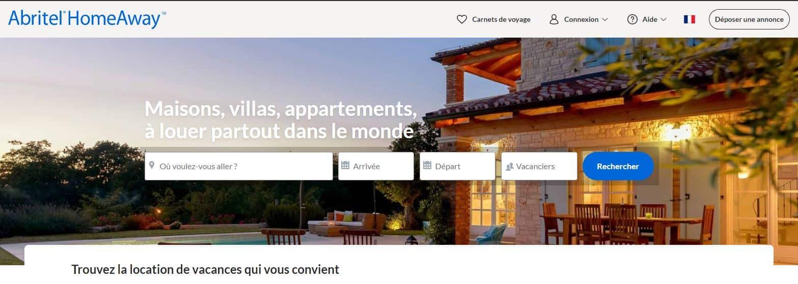 Page d'accueil de Abritel HomeAway