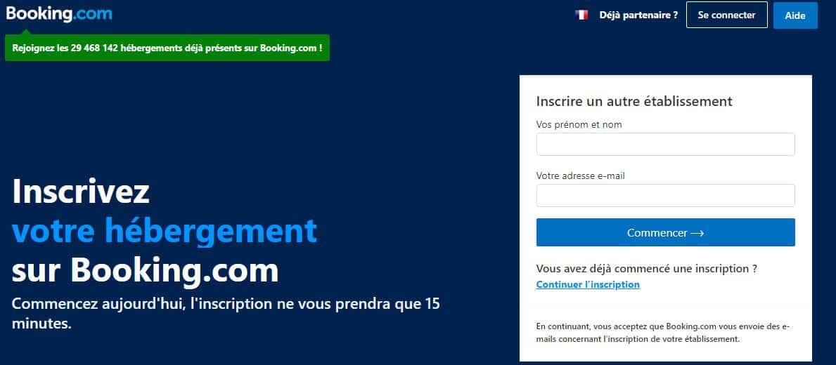 Interface pour ajouter un hébergement à Booking.com (source : join booking.com)