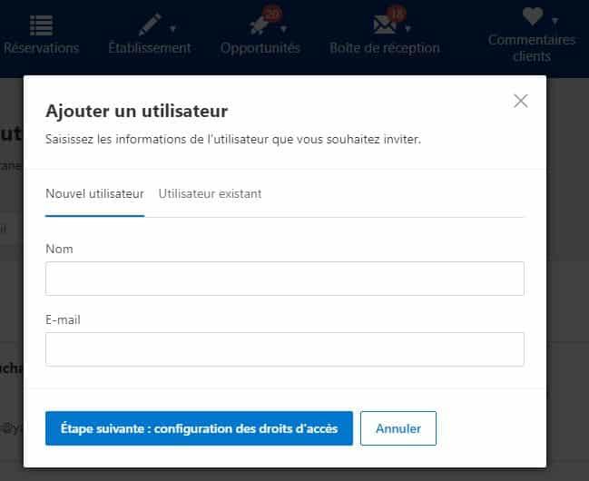 Ajouter un utilisateur Booking