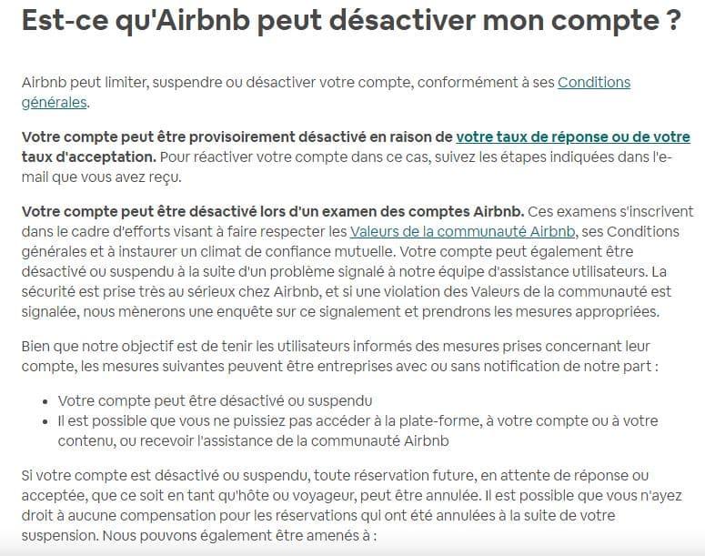 Désactiver compte airbnb
