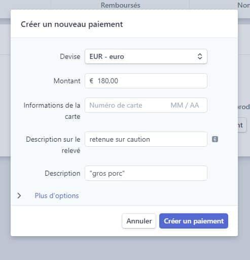 Interface de stripe pour entrer les coordonnées de carte bancaire des clients, n'oubliez pas de demander le code CSV