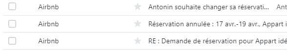 Exemple d'une série de mails automatiques envoyés par Airbnb pour gérer une annulation