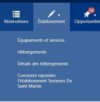 Accès à l'onglet détail des hébergements dans l'Extranet Booking
