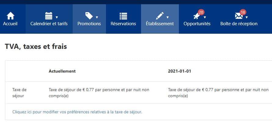 Interface pour modifier la TVA et la taxe de séjour dans mon compte Booking.com
