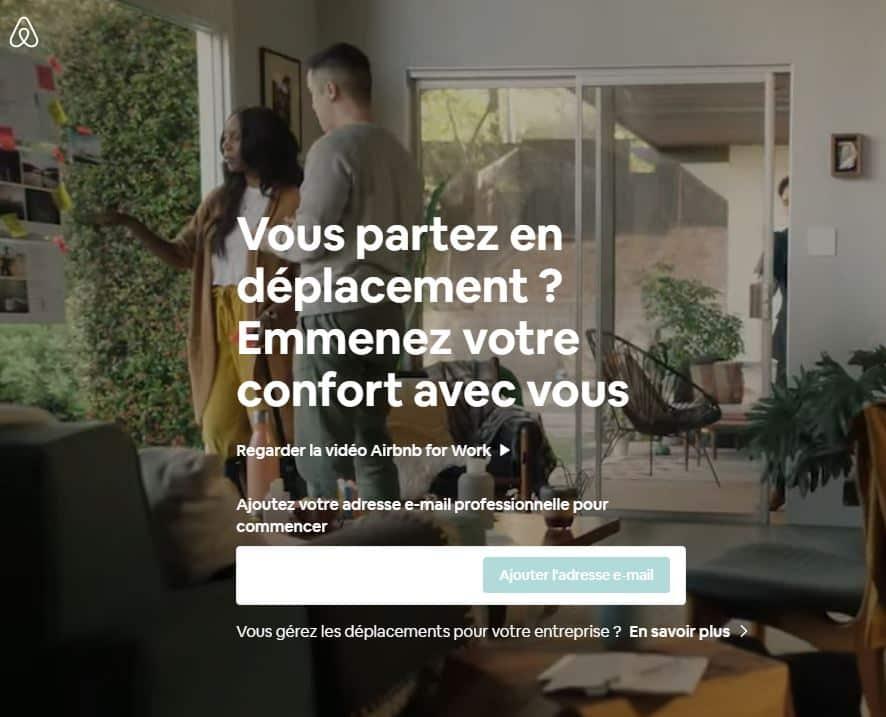 Visuel de l'interface Airbnb For Work (voyages d'affaires)