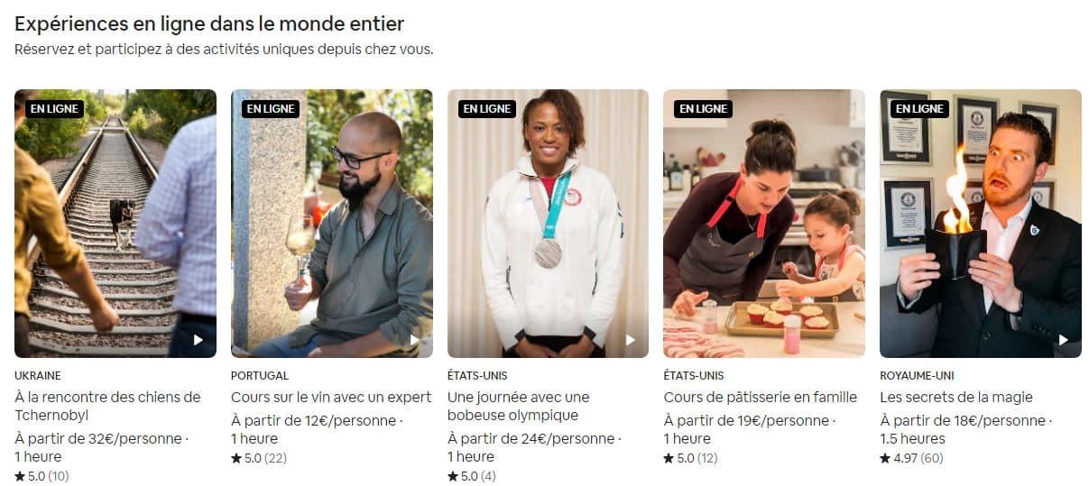 Quelques exemples d'Expérience Airbnb en Ligne