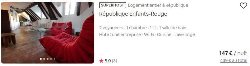 Ce titre n'apprend pas grand chose sur les caractéristiques de l'appartement Source : Airbnb Paris