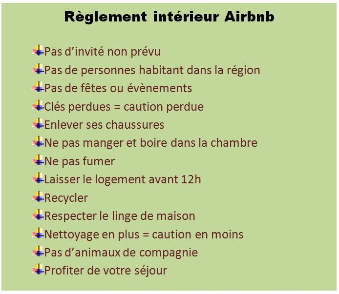 réglement intérieur Airbnb